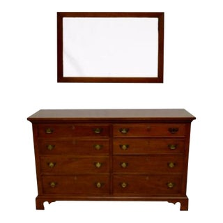 Craftique Solid Mahogany Chippendale Style Double Chest of Drawers & Mirror - A Pair