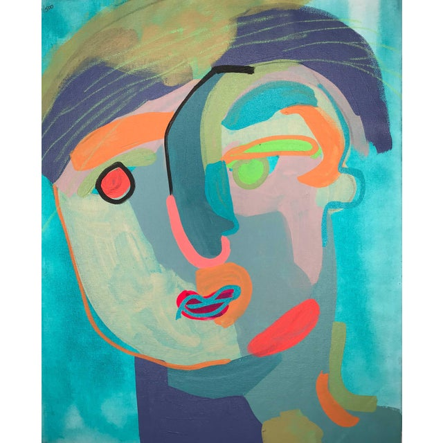 "Canvas Contemporary Abstract Portrait Painting ""Let's Chat, No. 2"" For Sale - Image 7 of 7"