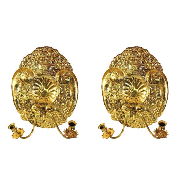Mottahedeh Double Baroque Repousse Brass Wall Sconces - A Pair For Sale - Image 9 of 9