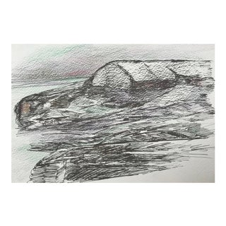 Coastal Landscape Sketch 1970s For Sale