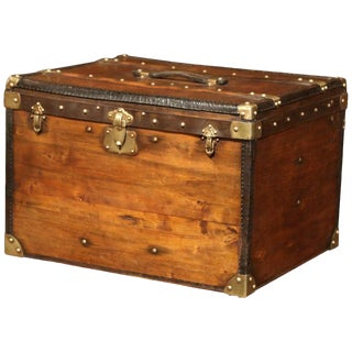 19th Century French Pine Leather and Brass Hat Trunk Luggage For Sale