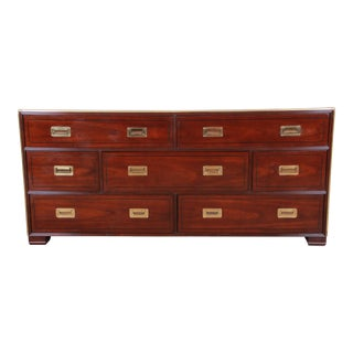 Baker Furniture Brass Campaign Style Long Dresser For Sale