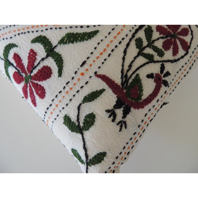 Boho Chic Vintage Indian Colorful Floral Embroidered Decorative Bolster Pillow For Sale - Image 3 of 4