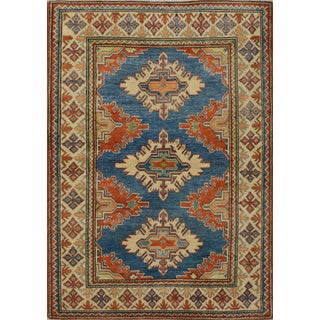 Geometric Kazak Rug Hand-Knotted 3'9'' X 5'3'' For Sale