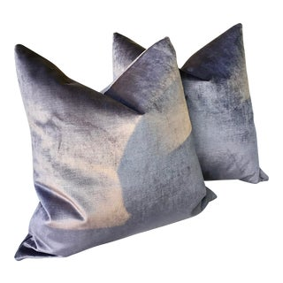 "Lavender Velvet Down Filled Pillows - a Pair, 21"" For Sale"