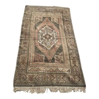 "Hand Made Vintage Turkish Area Rug- 4'5""x8'7"" For Sale"
