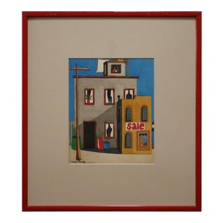 Naive Watercolor Scene in the Manner of David Hockney For Sale