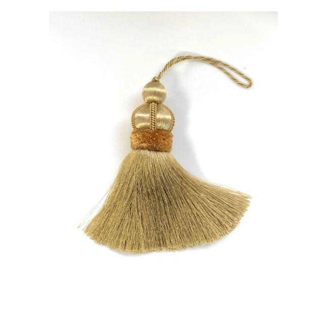 Gold Gold Key Tassels With Cut Velvet Ruche- a Pair For Sale - Image 8 of 11