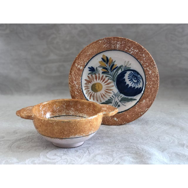 1930s Henriot Quimper French Pottery Bowl & Plate Set For Sale - Image 5 of 13