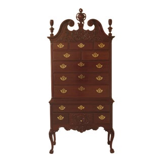 1980s Vintage Councill Craftsmen Chippendale Mahogany Highboy Chest For Sale