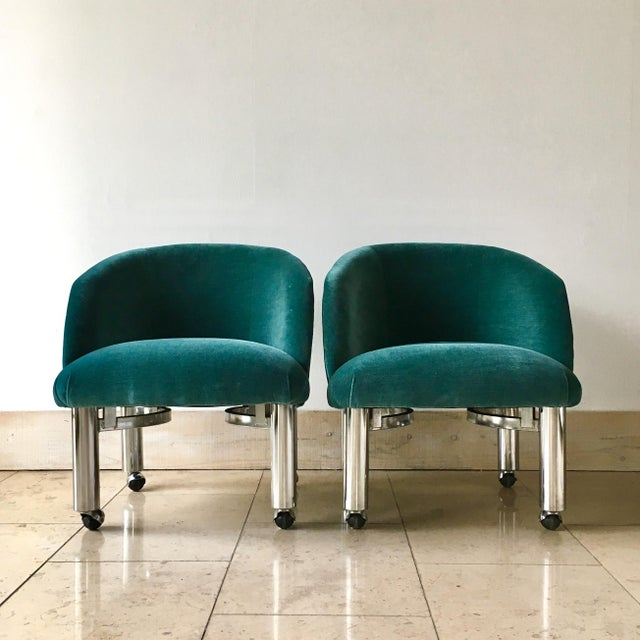 Pair of Chrome Framed Teal Velvet Upholstered Tub Chairs on Castors 1960s Reupholstered by Talisman here is our UK...