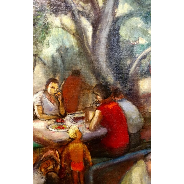 Frances Beatrice Lieberman-1935 Picnic at Alum Rock-Oil Painting-S.F. Museum of Art For Sale - Image 5 of 10