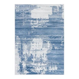 Abstract Blue and White Area Rug - 5'4''x 7'7''