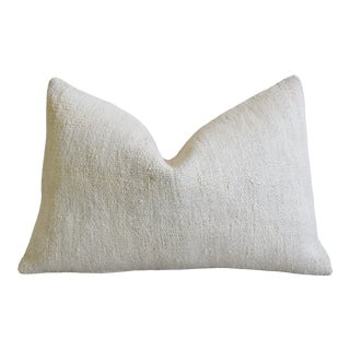 "Neutral Ivory-Cream Turkish Hemp & Cotton Feather/Down Pillow 23"" X 16"" For Sale"