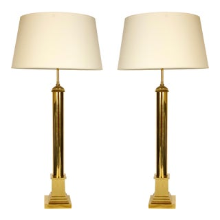 A Pair of Tall Brass Column Lamps For Sale
