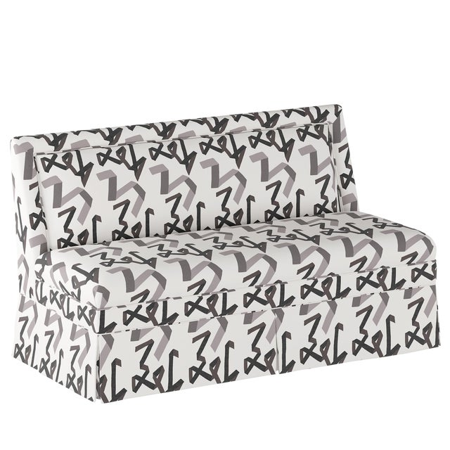 Skirted Settee in Black Ribbon by Angela Chrusciaki Blehm for Chairish For Sale