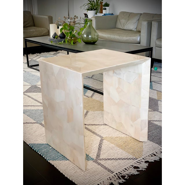 Modern Made Goods Sleek Faux Horn Side Table For Sale - Image 13 of 13