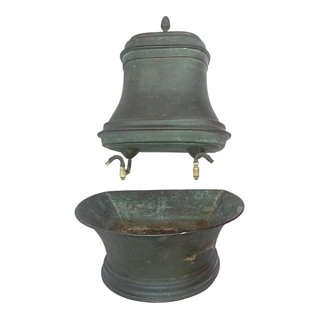 vintage french green copper lavabo chairish. Black Bedroom Furniture Sets. Home Design Ideas