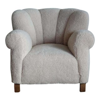 Fritz Hansen Model 1518 Size Club Chair in Lambswool, Denmark40s For Sale