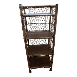 Rustic Primitive Woven Bamboo Shelf Unit For Sale