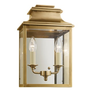 Mayfair Wall Lantern in Antique Brass For Sale
