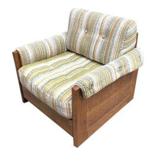 1970s Howard Furniture Tweed Striped Chair For Sale
