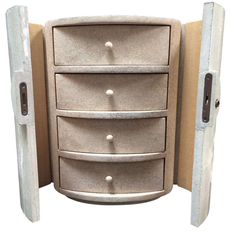 Shagreen Eel Skin Locking Jewelry Box Chairish