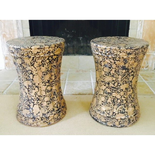 Gold and Black Pedestal Side Tables - A Pair - Image 3 of 8