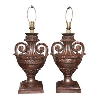 Pair of Vintage Italian Silver Leaf Carved Wood Lamps For Sale