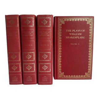 """Vintage """"Plays of William Shakespeare"""" Red Leather Book Set of 4 For Sale"""