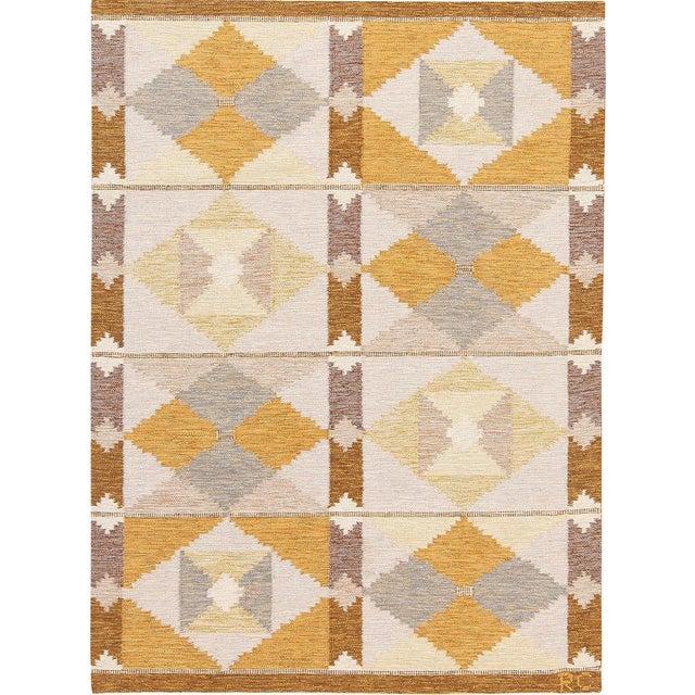 Arts & Crafts Vintage Swedish Scandinavian Carpet by Rakel Callander - 4′6″ × 6′3″ For Sale - Image 3 of 3