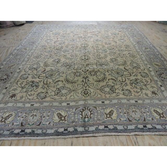 Antique Persian Handmade Area Rug - 9′5″ × 10′9″ - Image 11 of 11