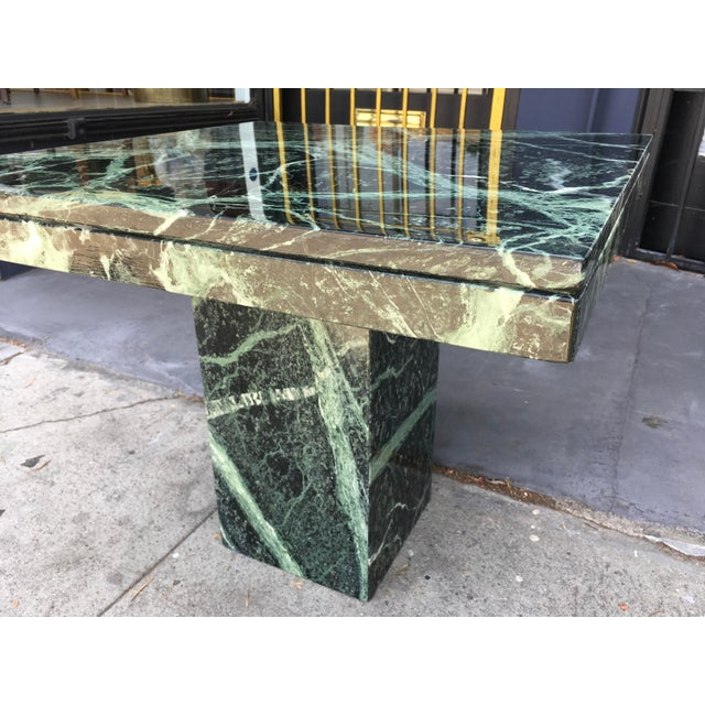 1970s 1970s Italian Verde Green Marble Side Table For Sale - Image 5 of 10