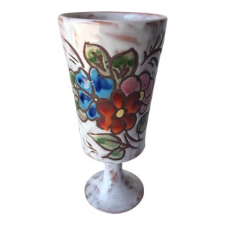 Midcentury Floral Designed Ceramic Vase Signed Miclay For Sale