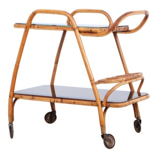1960s French Rattan Bar Cart For Sale