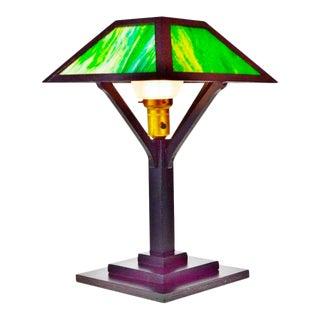 Vintage Mission Arts & Crafts Slag Glass Table Lamp For Sale
