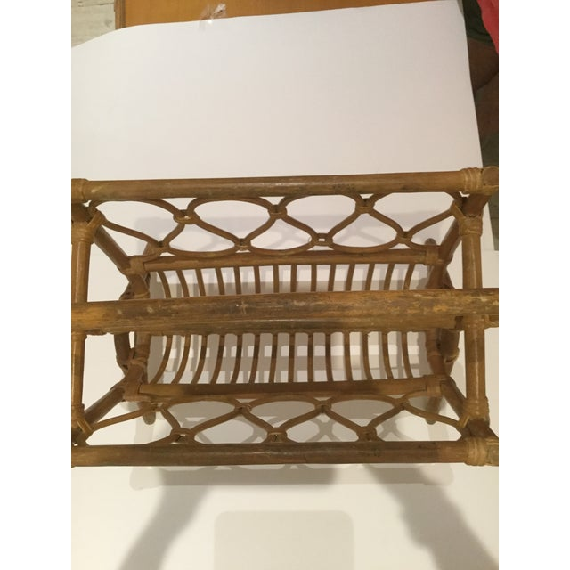 Vintage Boho Chic Rattan Magazine Rack For Sale In West Palm - Image 6 of 7