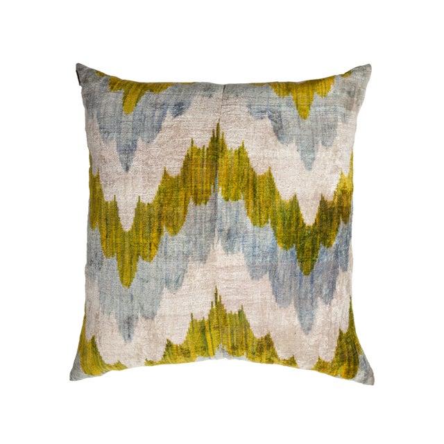 Asian Vintage X-Large Square Waves Light Blue/Green/Silver Silk Velvet Ikat Pillow For Sale - Image 3 of 3