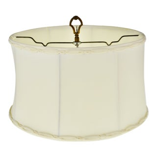 Vintage Fabric Braided Trim Diffuser Lamp Shade With Brass Finial For Sale