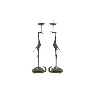 Antique Chinese Bronze Crane and Tortoise Candlesticks For Sale
