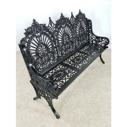 Antique American Cast Iron Park Bench For Sale - Image 11 of 13