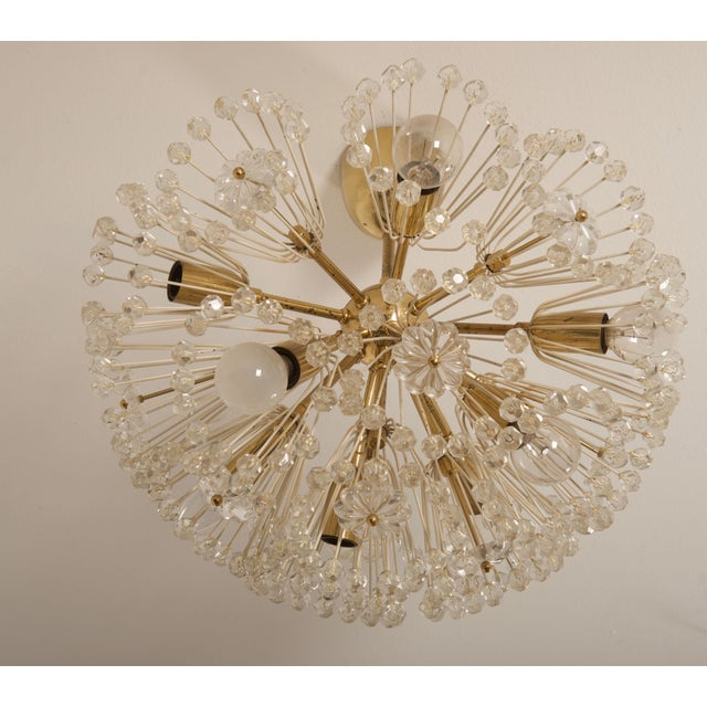 Emil Stejnar snowball chandelier form 1960s, brass construction and gold colored socket covers accented with crystal...
