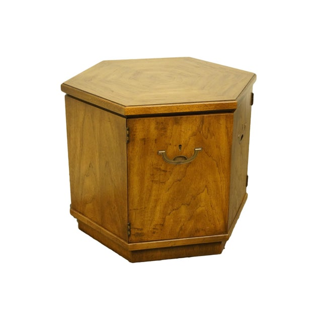 Drexel Heritage Accolade II Collection campaign style hexagonal storage cabinet / Accent end table. We specialize in high...