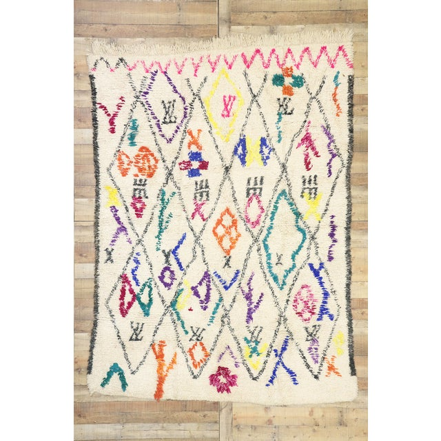 """Beige Contemporary Berber Moroccan Azilal Rug - 6'6"""" X 9' For Sale - Image 8 of 9"""