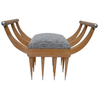 Custom Curule Bench in Oak and Stainless Steel For Sale