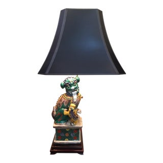 Vintage Foo Dog Pup Table Lamp & Black Pagoda Shade For Sale
