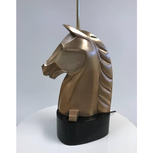 1950s Pair of French Bronze Horse Lamps For Sale - Image 5 of 5