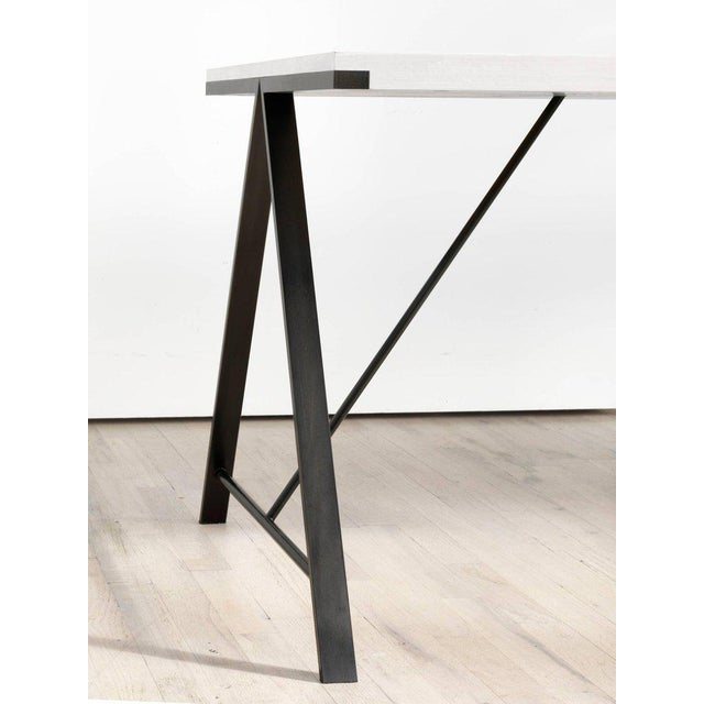 Not Yet Made - Made To Order Contemporary Blackened Steel and White Washed Maple A-Table For Sale - Image 5 of 6