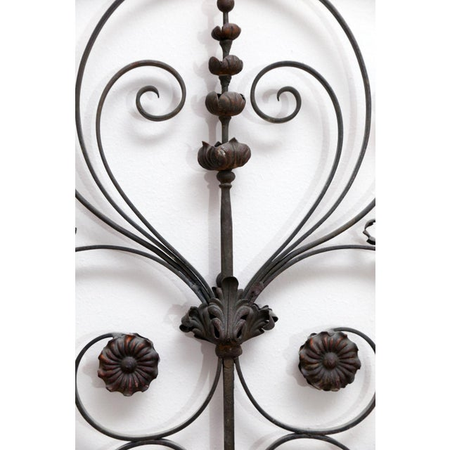 French Pair of 19th Century French Forged Iron Gates, later adapted as a Headboard For Sale - Image 3 of 7