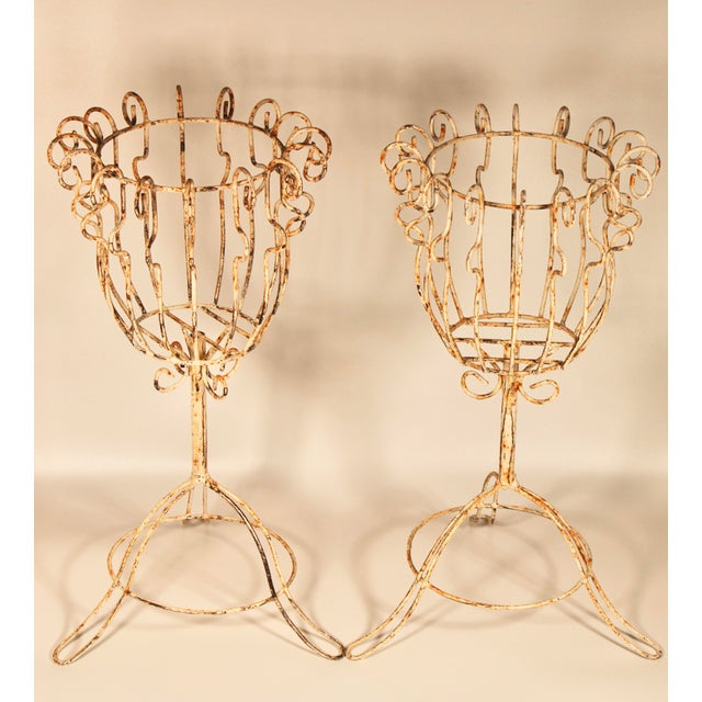 Shabby Chic Large French Pedestal Cast Iron Basket Jardinieres - a Pair For Sale - Image 3 of 13